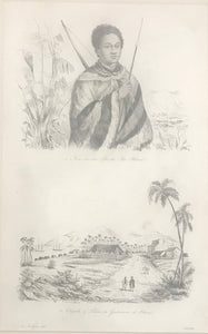 1830's Hawaii Engraving of Two Hawaiian Scenes