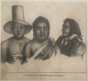 Portraits Of Sandwich Islanders. (Portraits der Sandwichinsulaner) 1820 Engraving