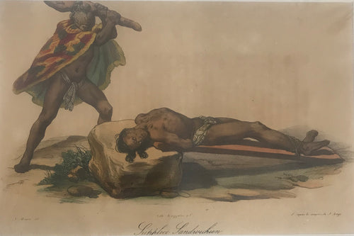 1820's Hand Colored Engraving 'Supplice Sandwichien' Of An Execution Hawaii