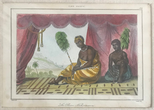 1836 Hand Colored Hawaii Engraving 'La Reine Kahoumanou'