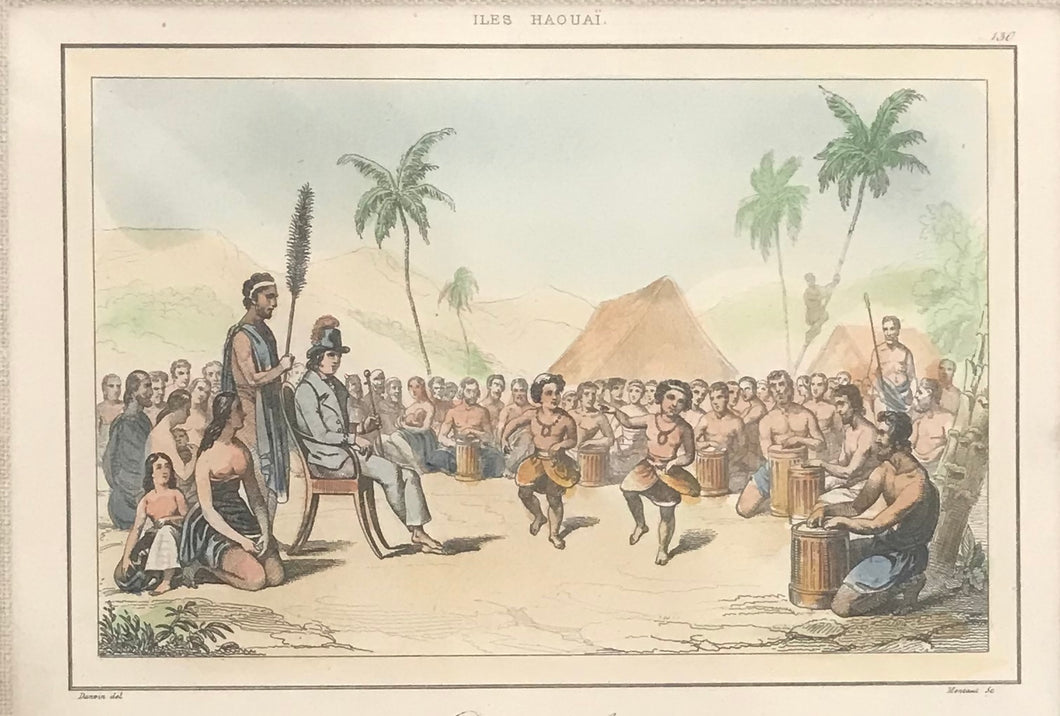 1836 Hand Colored Hawaii Engraving 'Danse Des Enfants'