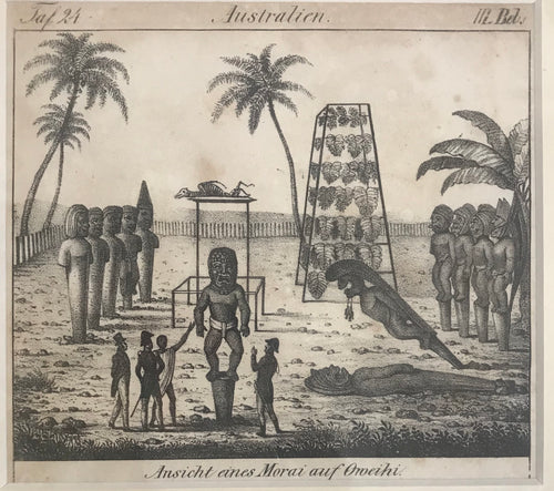 View of the Morai of the King, at Kayakakoua on Owhyhi 1820 Hawaii Engraving