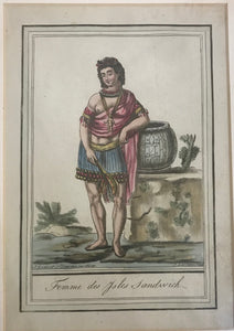18th c. Hand Colored Engraving 'FEMME DES SANDWICH ISLES' Hawaii