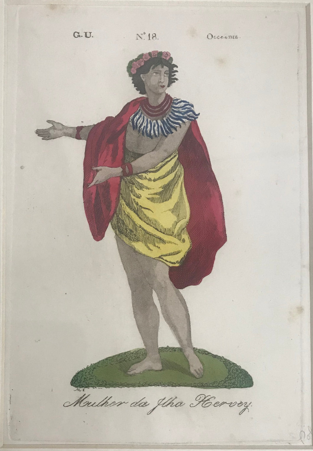 Muther Da Hervey 18thC. Hand Colored Engraving, Hervey Island Woman