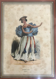 Danseuse A Taiti, Hand Colored Print of Tahiti Woman Dancing