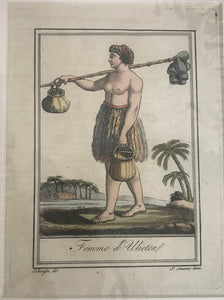 Femme D'Ulietea 18th C. Hand Colored Engraving Of A New Hebrides Woman