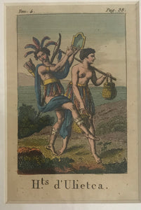 Hts D'Ulietca 18th C. Hand Colored Engraving Of A New Hebrides Duo