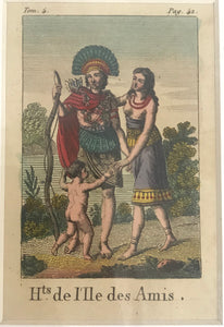 Hts De L'ile Des Amis 18th C. Hand Colored Engraving Of A Tonga Family