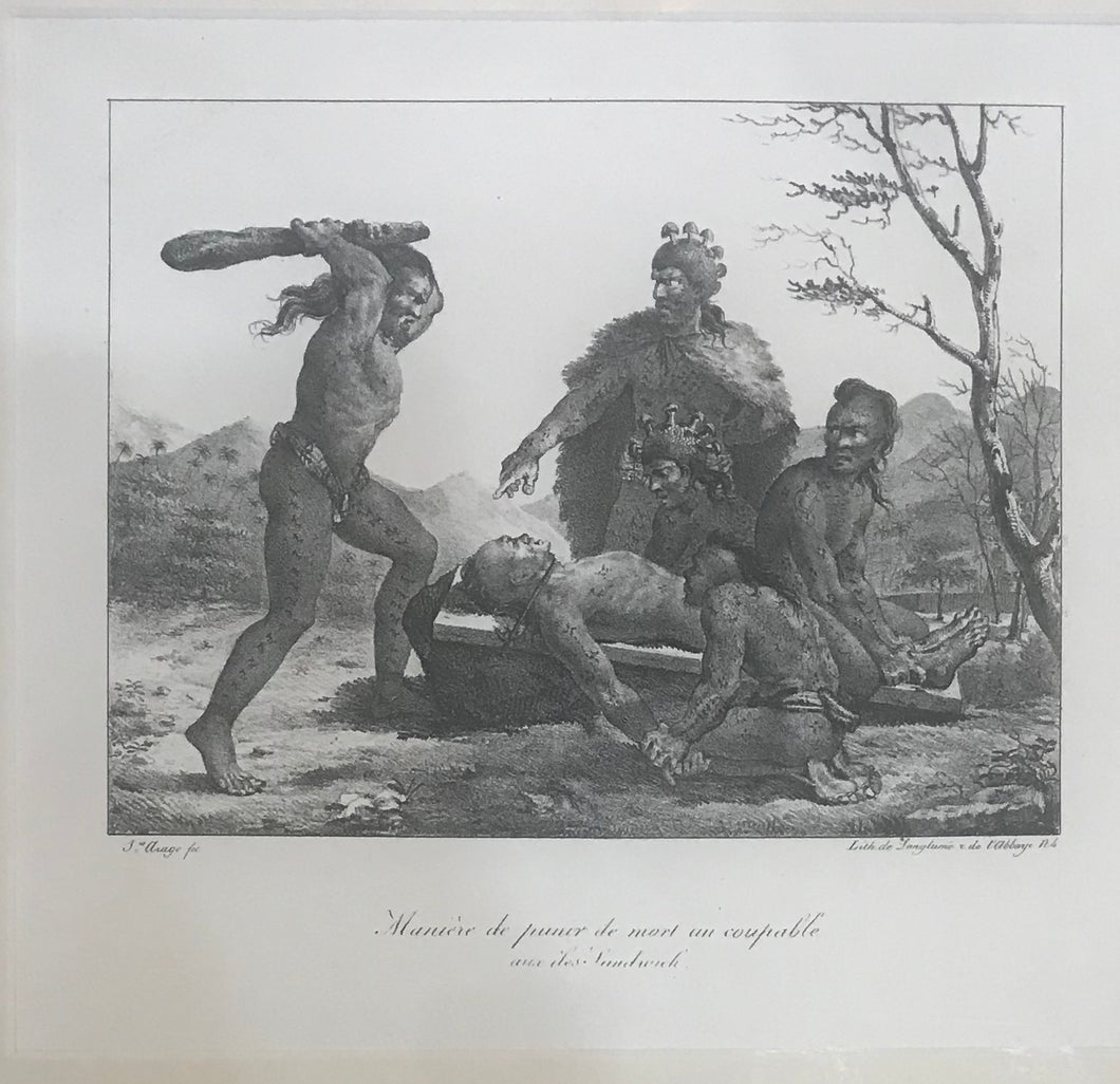 Maniere De Punir De Mort Un Coupable Aux Iles Sandwich 1822 Hawaii Lithograph