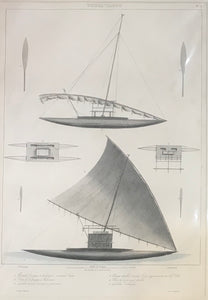 Tonga-Tabou 1826 Hand Colored Lithograph Of Tonga Sailing Canoes