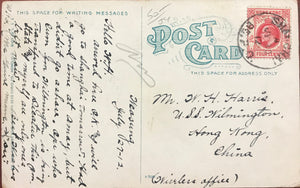 1912 Vintage Post Card Of Outrigger Club House Honolulu, Hawaii