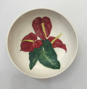 Santa Anita Ware 'Red Anthurium' 5.25 inch Bowl
