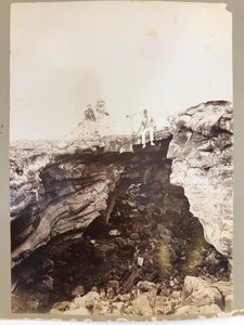 1880's Albumen Photo By Chase Of Fresh Lava Formations At Volcano Hawaii