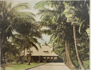1920's Hand Colored Photograph Of Niumalu Hotel Hawaii By RW Oakes