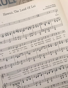 Hawaiian Sheet Music: 'Hawaii The Land Of The Lei'