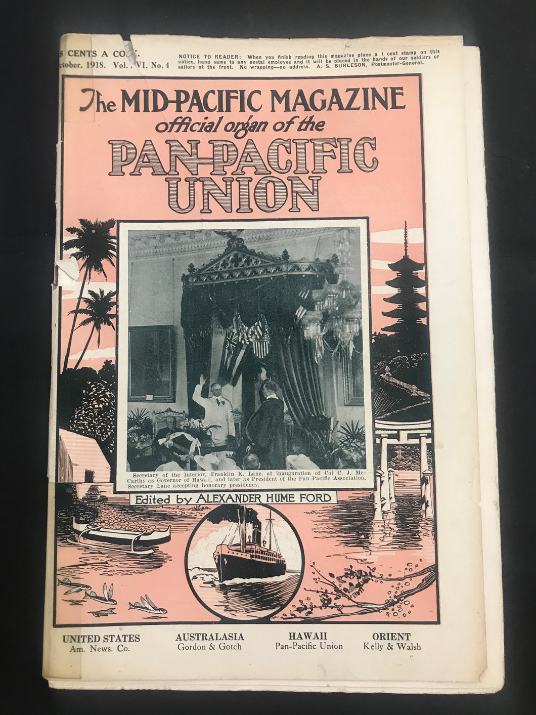 October 1918 Mid Pacific Magazine Vol.16 No.4, Pub. Alexander Hume, Hawaii