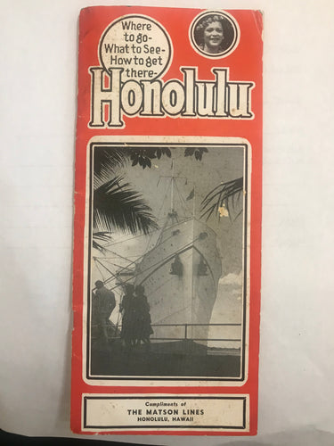 1948 Brochure: Honolulu Where To Go What To See How To Get There Matson