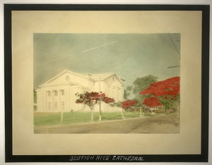 1920's Hand Colored Photo Of Scotish Rite Cathedral Honolulu Hawaii