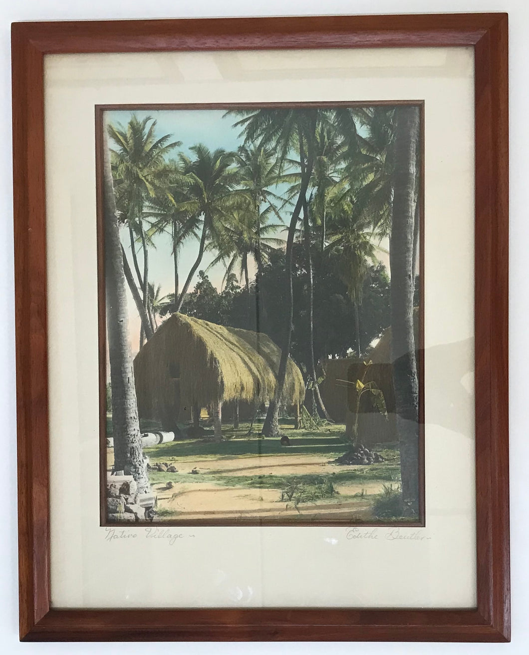 1940's Vintage Hand Colored Photo By Edithe Beutler 'Native Village'
