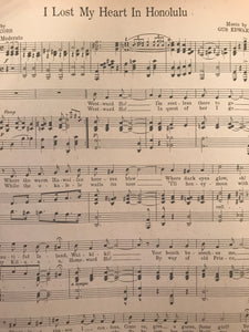 Hawaiian Sheet Music: 'I Lost my Heart In Honolulu'