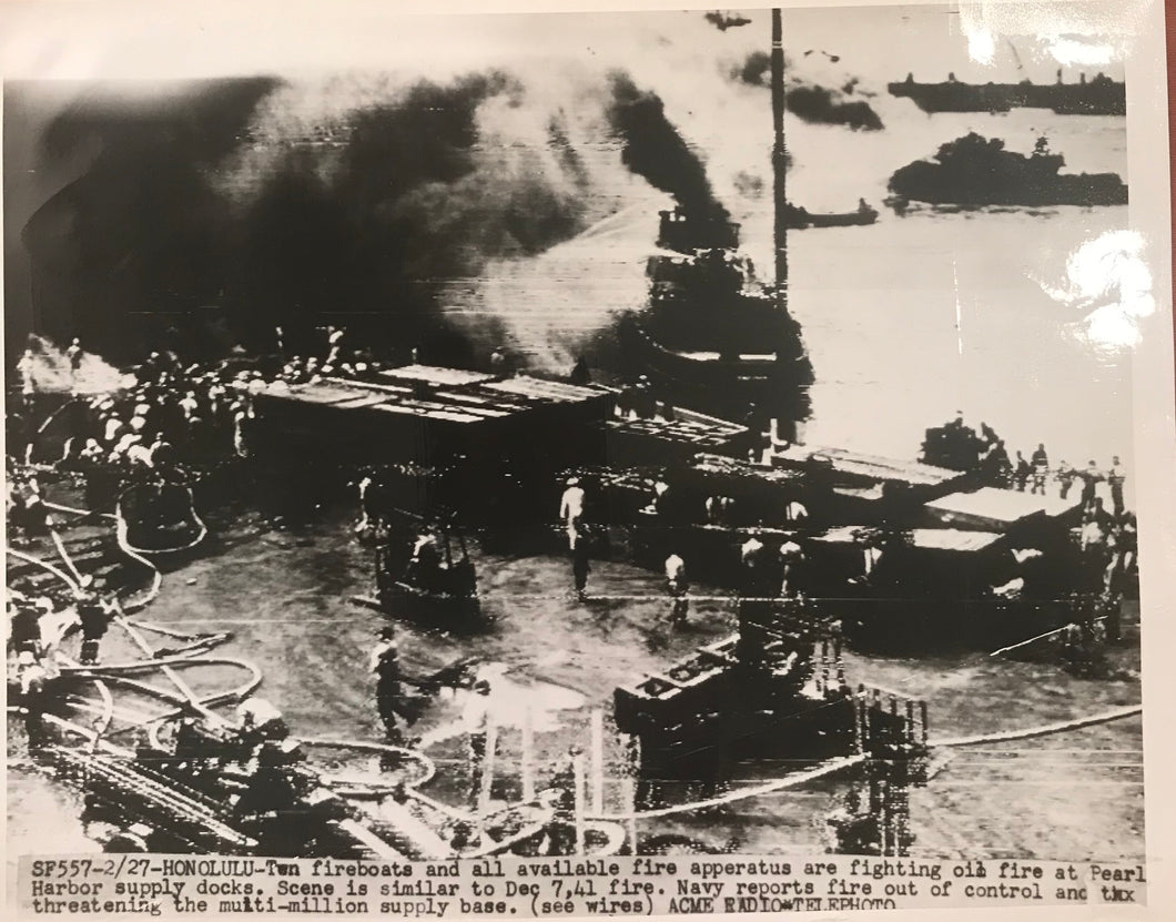 1942 Vintage Press Photograph of Fire At Pearl Harbor Hawaii