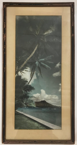 1920's Vintage Hand Colored Photograph Diamond Head, Waikiki, Outrigger Club