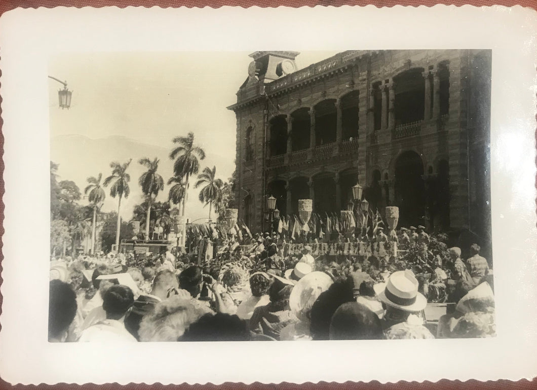 Vintage Photograph Of A Celebration In Front Of Iolani Palace, Honolulu Hawaii
