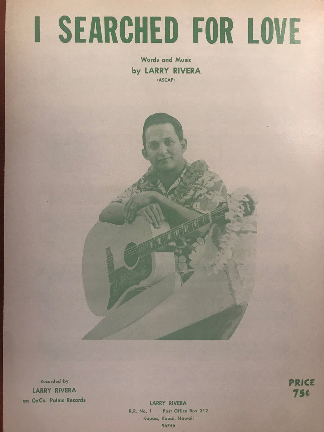 Hawaiian Sheet Music: 'I Searched For Love'