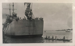 Vintage Photograph Of An Outrigger Next To The Honolulu In Hawaii