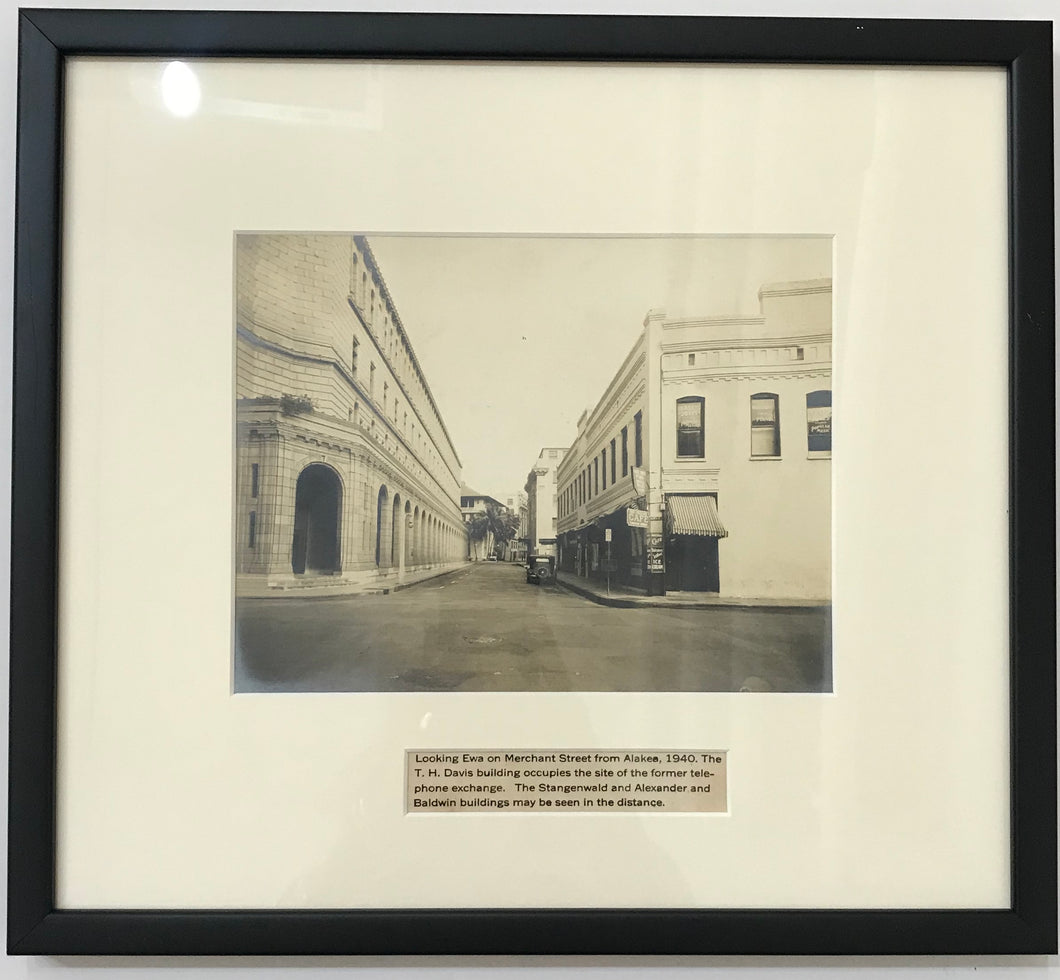 1940 Vintage Photograph Of Merchant St From Alakea Honolulu Hawaii