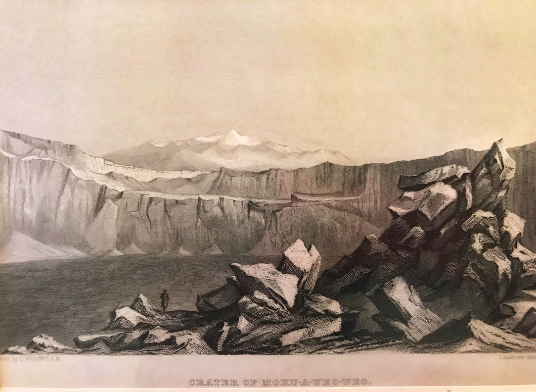 1845 Original Engraving US Exploring Expedition 'CRATER OF MOKU-A-WEO-WEO'