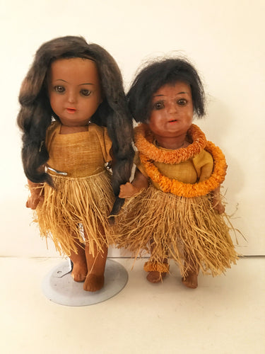 Antique 1920's Schoenau & Hoffmeister 'Hanna' Hula Boy & Girl Dolls