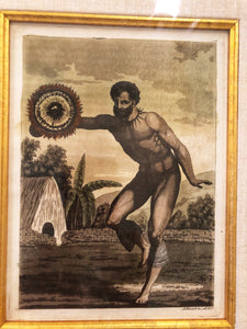 18th Century Handcolored Aquatint 'DANCER'