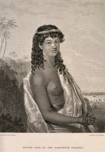 1826 Original Hawaii Aquatint Engraving 'Native Girl Of The Sandwich Islands'