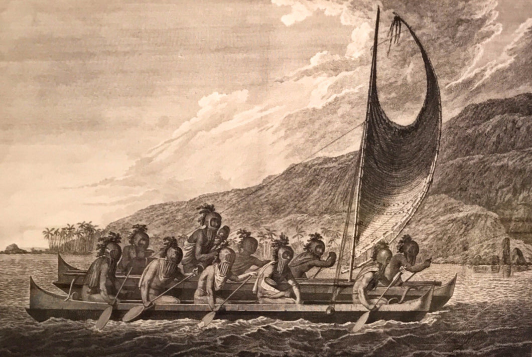 A Canoe of the Sandwich Islands, the Rowers Masked