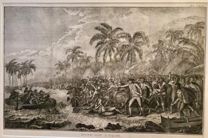 Original 18th Century Hawaii Engraving  'Dood, Van J.Cook' Death of Cook