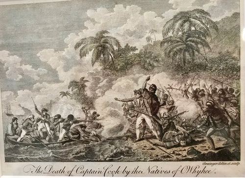 Original Engraving 'THE DEATH OF CAPTAIN COOK BY THE NATIVES OF OWHYEE'