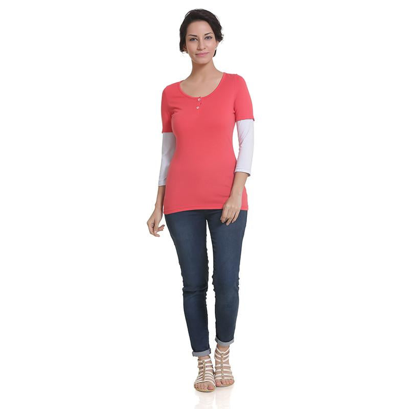 Womens 3/4 Sleeve Henley T-Shirt