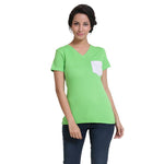 Womens V Neck Pocket T-Shirt