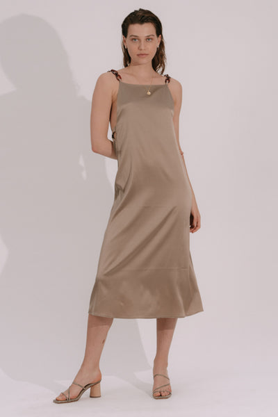 ROBE RACHELLE -  SATIN DE SOIE SABLE