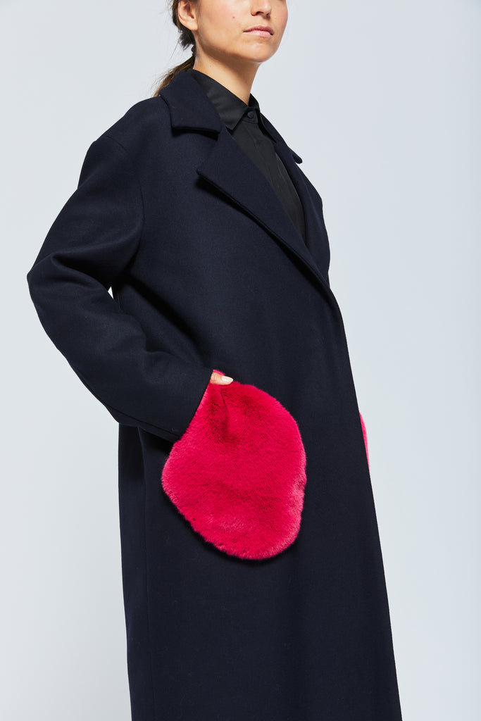 Manteau Valtesse - Navy Fuschia