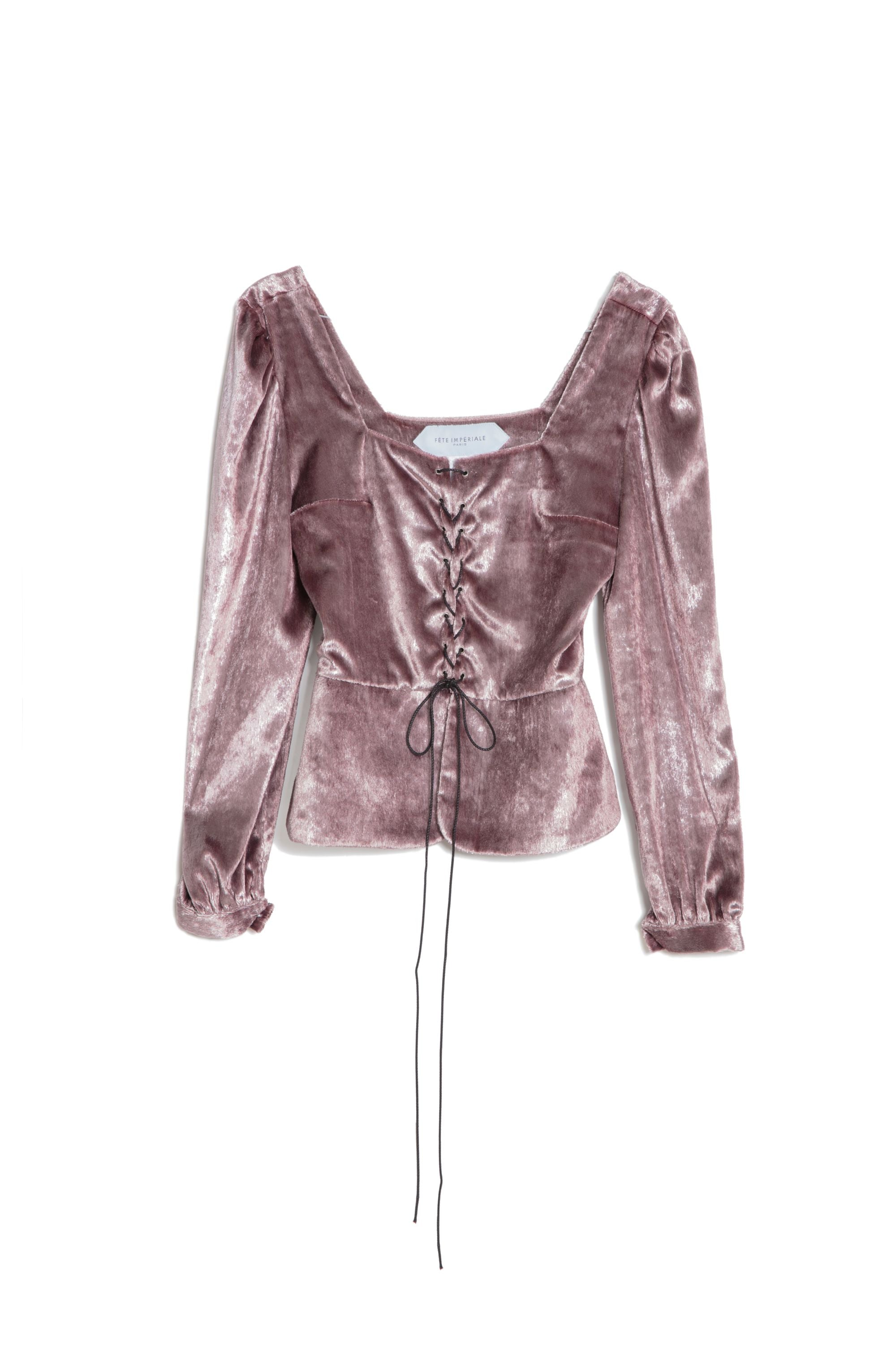 Blouse Bette - Velours lamé rose