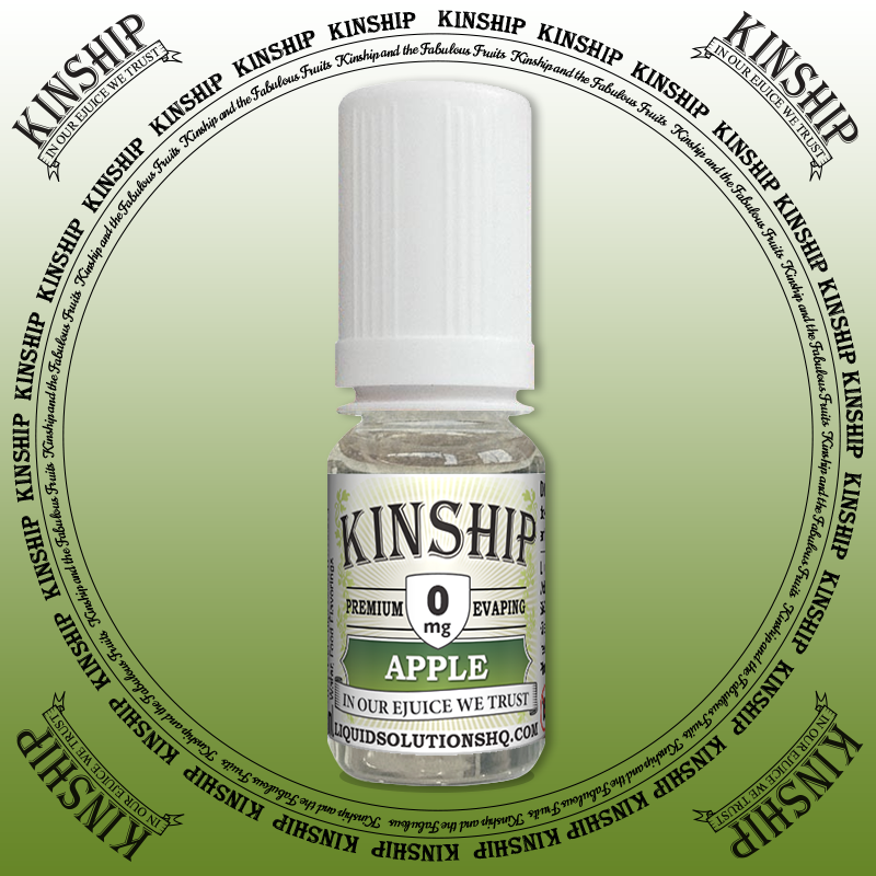 Kinship eJuice, Apple flavoured with 0mg nicotine.