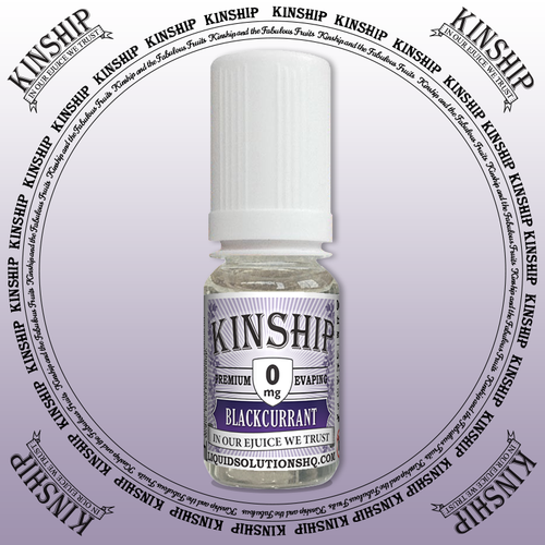 Kinship eJuice, blackcurrant flavoured with 0mg nicotine.