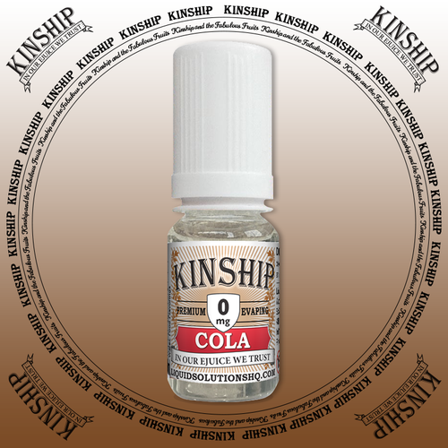 Kinship eJuice, cola flavoured with 0mg nicotine.