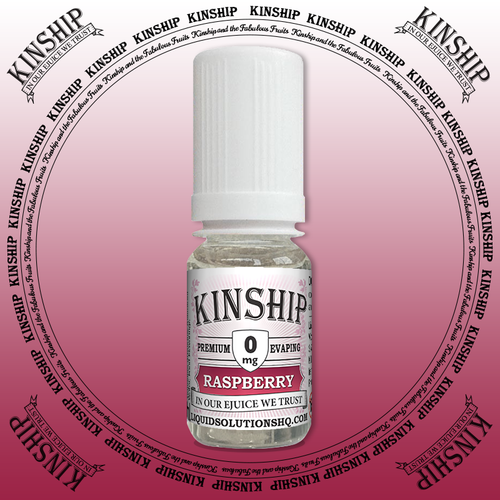 Kinship eJuice, raspberry flavoured with 0mg nicotine.