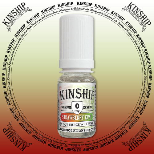 Kinship eJuice, strawberry and kiwi flavoured with 0mg nicotine.
