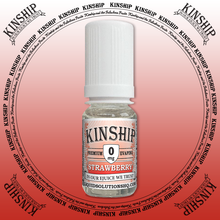 Kinship eJuice, strawberry flavoured with 0mg nicotine.