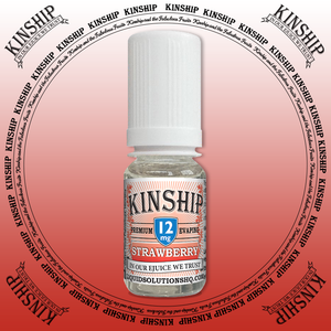 Kinship eJuice, strawberry flavoured with 12mg nicotine.