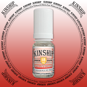 Kinship eJuice, strawberry flavoured with 18mg nicotine.